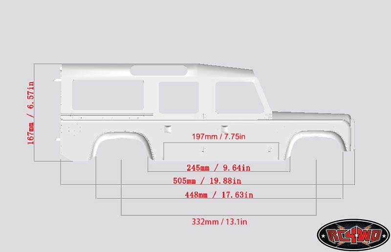 1 10 Land Rover Defender D110 Hard Plastic Body Kit Very